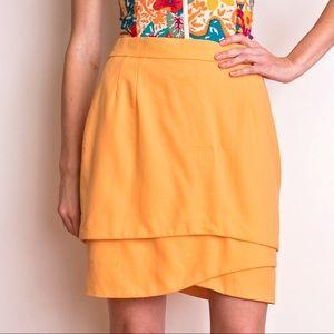 ESCADA coral orange asymmetrical mini skirt